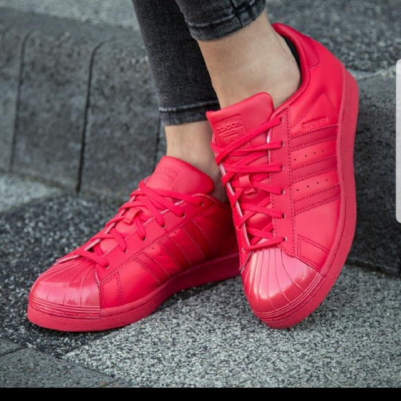 Glossy Adidas Red Poshmark Toe Shoes Superstar vZFwS0q